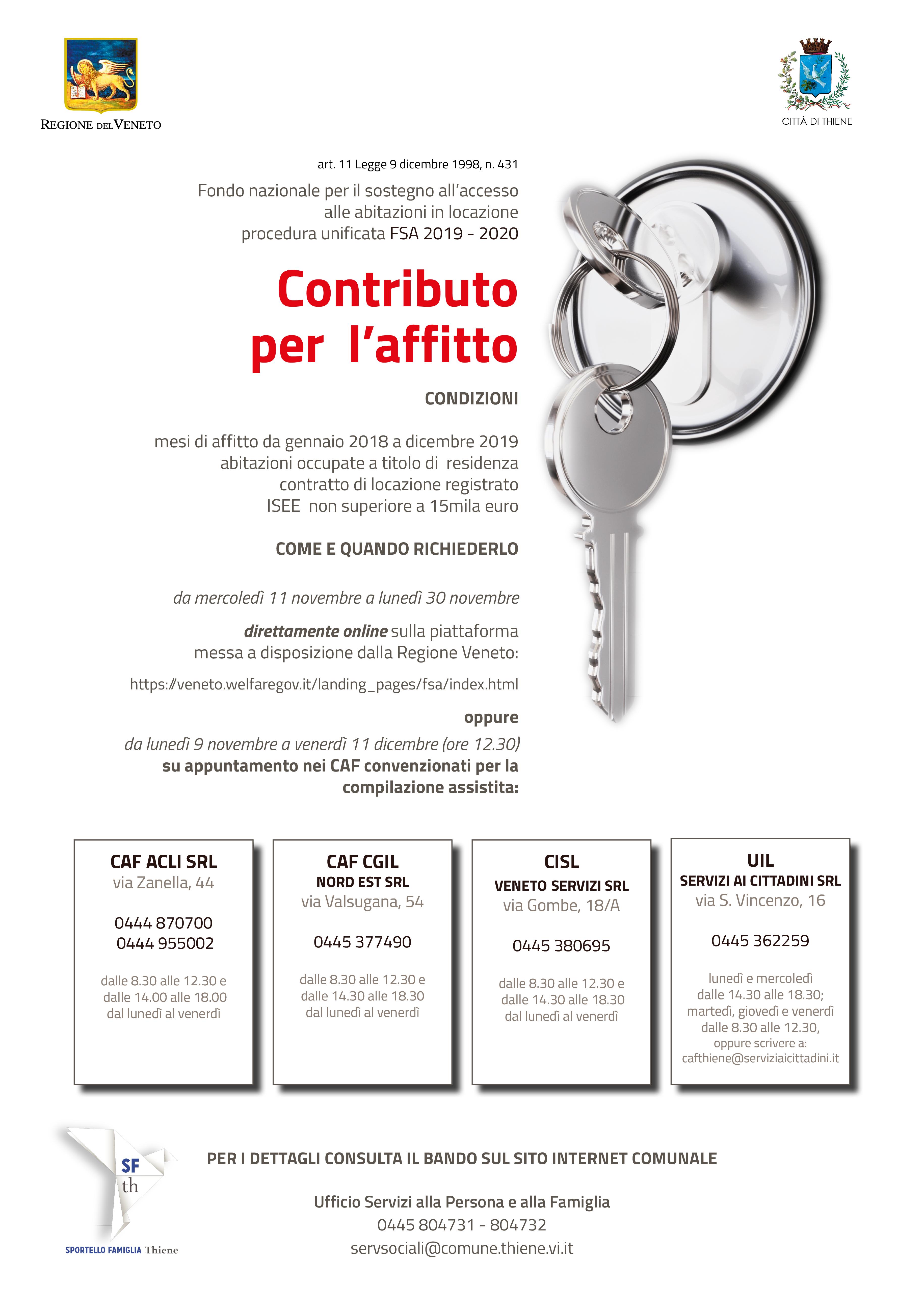 locandina Contributo Affitto Thiene 2020